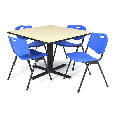 Regency Seating Beige Lunchroom Table 42 Laminate Top & Metal X Base with 4 Blue M Stack Chairs
