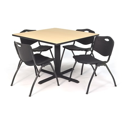 Regency Seating Beige Lunchroom Table 42 Laminate Top & Metal X Base with 4 Black M Stack Chairs