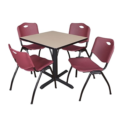 Regency Seating Beige Lunchroom Table 42 Laminate Top & Metal X Base with 4 Burgundy M Stack Chairs