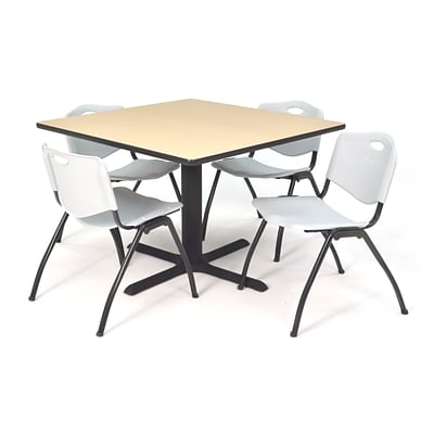 Regency Seating Beige Lunchroom Table 42 Laminate Top & Metal X Base with 4 Gray M Stack Chairs
