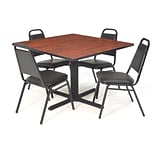 Regency Seating 36 Metal/Wood Square Cherry Table & Chairs