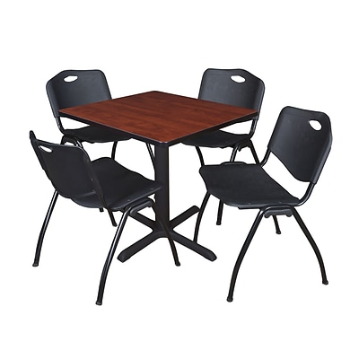 Regency Seating Cherry Table 42 Laminate Top & Metal X Base with 4 Black M Stack Chairs