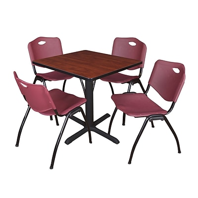 Regency Seating Cherry Table 42 Laminate Top & Metal X Base with 4 Burgundy M Stack Chairs