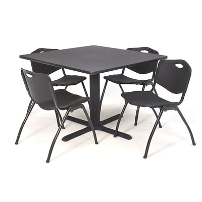 Regency Seating Gray Lunchroom Table 42 Laminate Top & Metal X Base with 4 Black M Stack Chairs