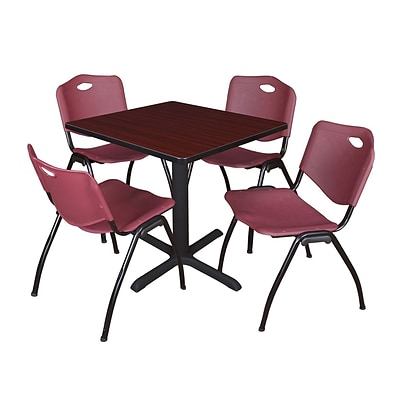 Regency Seating Mahogany Table 42 Laminate Top & Metal X Base with 4 Burgundy M Stack Chairs