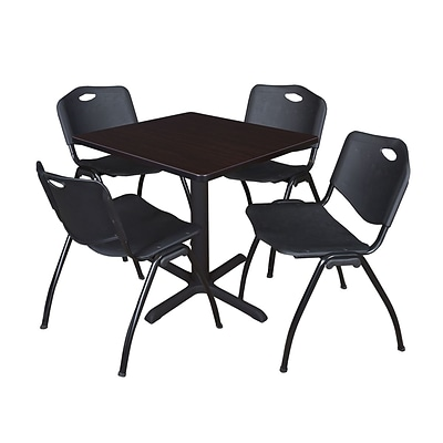 Regency Seating Mocha Walnut Table 30 Laminate Top & Metal X Base with 4 Black M Stack Chairs