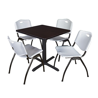 Regency Seating Mocha Walnut Table 42 Laminate Top & Metal X Base with 4 Gray M Stack Chairs
