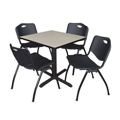 Regency Seating Maple Lunchroom Table 42 Laminate Top & Metal X Base with 4 Black M Stack Chairs