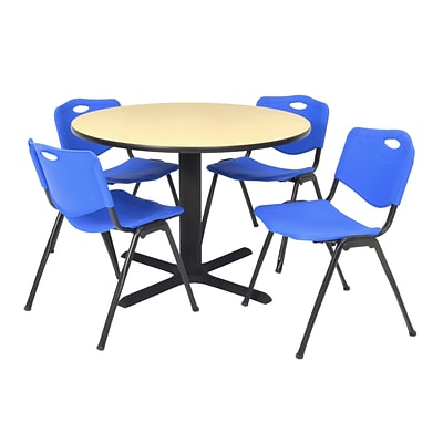 Regency Seating Lunchroom Table 36 Laminate/Metal with 4 Blue M Stack Chairs