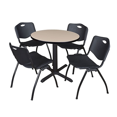 Regency Seating Lunchroom Table 36 Laminate/Metal with 4 Black M Stack Chairs
