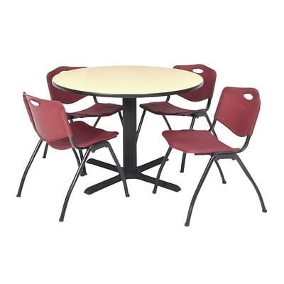 Regency Seating Lunchroom Table 36 Laminate/Metal with 4 Burgundy M Stack Chairs