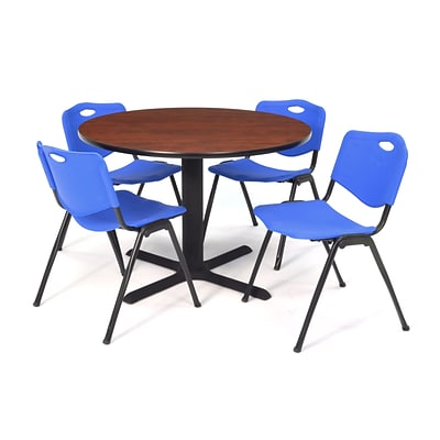 Regency Seating Cherry Lunchroom Table 36 Laminate/Metal with 4 Blue M Stack Chairs