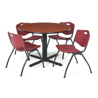 Regency Seating Cherry Lunchroom Table 36 Laminate/Metal with 4 Burgundy M Stack Chairs