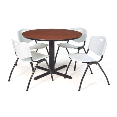 Regency Seating Cherry Lunchroom Table 36 Laminate/Metal with 4 Gray M Stack Chairs