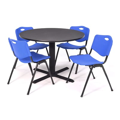 Regency Seating Gray Lunchroom Table 36 Laminate/Metal with 4 Blue M Stack Chairs
