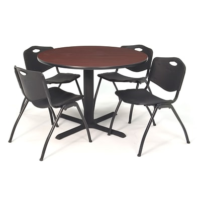 Regency Seating Mahogany Lunchroom Table 36 Laminate/Metal with 4 Black M Stack Chairs