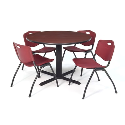 Regency Seating Mahogany Lunchroom Table 36 Laminate/Metal with 4 Burgundy M Stack Chairs