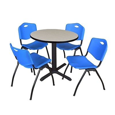 Regency Seating Maple Lunchroom Table 36 Laminate/Metal with 4 Blue M Stack Chairs