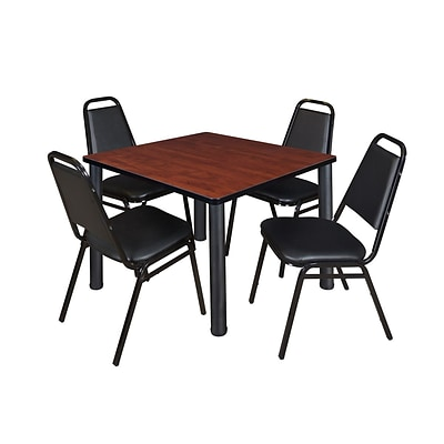 Regency Cain 42 Square Cherry Breakroom Table & 4 Black Stack Chairs