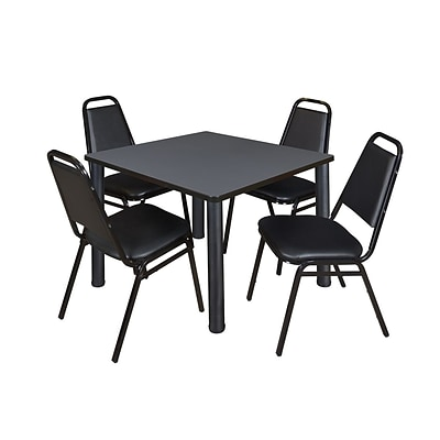 Regency Cain 42 Square Grey Breakroom Table & 4 Black Stack Chairs