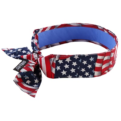 Ergodyne® Chill-Its® 6700 Evaporative Cooling Bandana With Cooling Towel, Stars and Stripes, 6/Pack