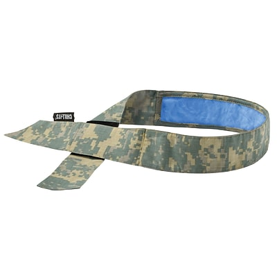 Ergodyne® Chill-Its® 6705 Evaporative Bandana With Cooling Towel, Camo, 6/Pack