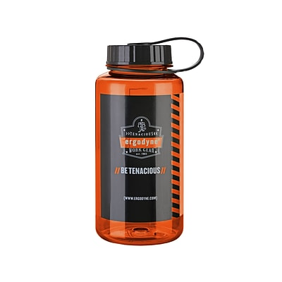 Ergodyne® Chill-Its® 1 Liter Wide Mouth Plastic Water Bottle, Orange