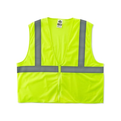 Ergodyne® GloWear® 8205Z Class 2 Hi-Visibility Super Economy Vest, Lime, Small/Medium