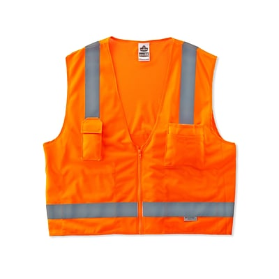 Ergodyne® GloWear® 8250Z Class 2 Hi-Visibility Surveyors Vest, Orange, Small/Medium