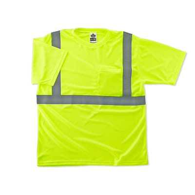 Ergodyne® GloWear® 8289 Class 2 Hi-Visibility Safety T-Shirt, Lime, 5XL