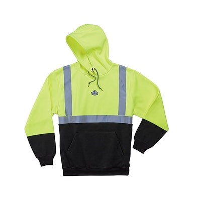 Ergodyne® GloWear® 8293 Class 2 Hi-Visibility Hooded Sweatshirt, Lime/Black, Medium