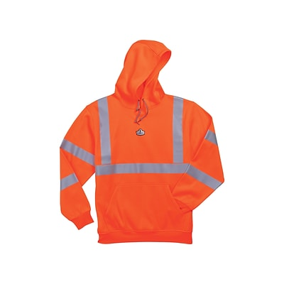 Ergodyne® GloWear® 8393 Class 3 Hi-Visibility Hooded Sweatshirt, Orange, 4XL