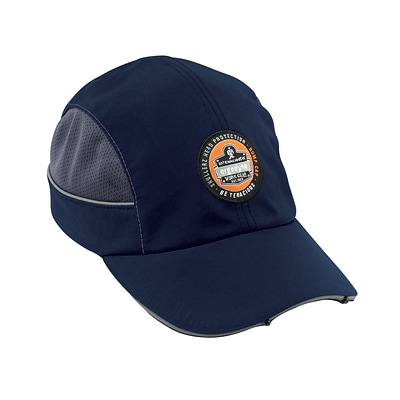 Ergodyne® Skullerz Nylon Taslan Short Brim Bump Cap With LED Lighting Technology, Navy