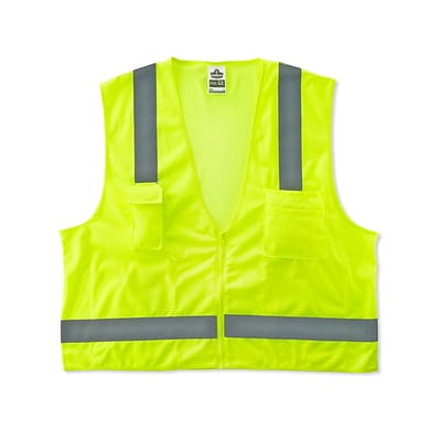 Ergodyne® GloWear® 8249Z Class 2 Hi-Visibility Economy Surveyors Vest, Lime, Small/Medium