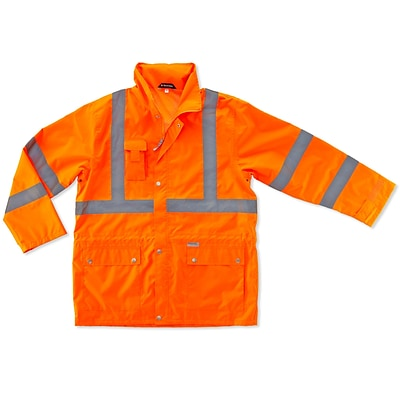 Ergodyne® GloWear® 8365 Class 3 Hi-Visibility Rain Jacket, Orange, Medium