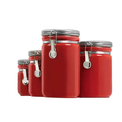 Anchor Hocking® 4 Piece Ceramic Canister Set; Red