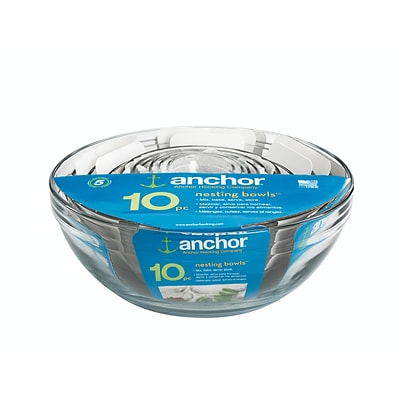 Anchor Hocking® Glass Mixing Bowl Value Pack; 10 Piece/Set