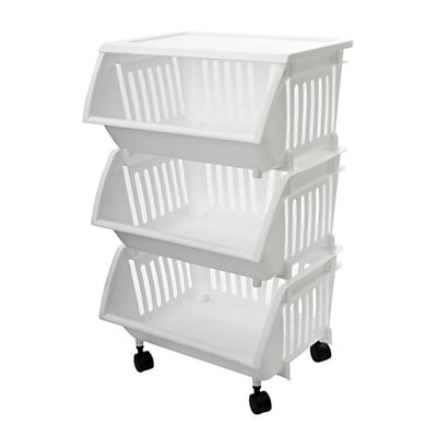 Home Homz® 3 Tier Mobile Cart, White