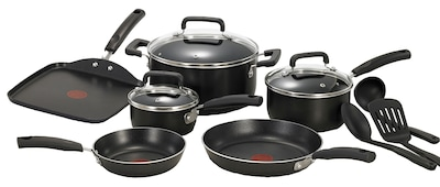 T Fal(r) Signature Total 12 Piece Nonstick Aluminum Cookware Set, Black