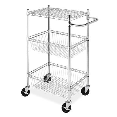 Whitmor Supreme Commercial 3 Tier Basket Cart, Chrome