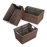 Whitmor Rattique Storage Baskets, Brown, 3/Pack