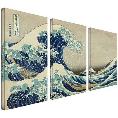 ArtWall The Great Wave Off... 3 Piece Gallery Wrapped Canvas Art By Katsushika Hokusai, 24 x 36