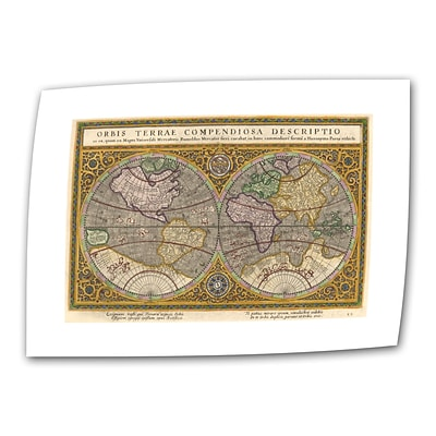 ArtWall Orbis Terrae Compendiosa... Unwrapped Canvas Art By Rumold Mercator, 16 x 24