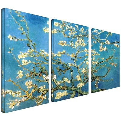 ArtWall Almond Blossom 3 Piece Gallery Wrapped Canvas Art By Vincent Van Gogh, 24 x 36
