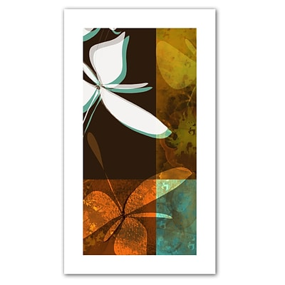 ArtWall Espresso Floral II Flat Unwrapped Canvas Art By Jan Weiss, 36 x 18
