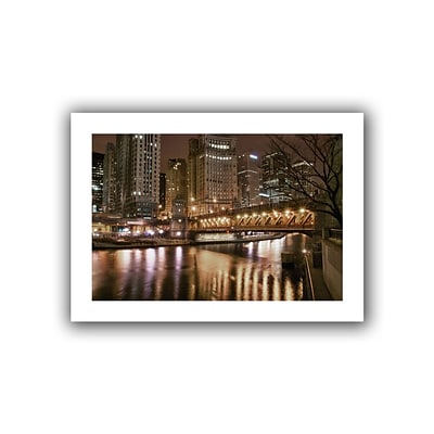 ArtWall Chicago-Michigan Avenue Bridge Flat Unwrapped Canvas Art By Dan Wilson, 24 x 36