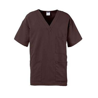Madison AVE.™ Unisex Scrub Top With 3 Pockets, Chocolate, Small