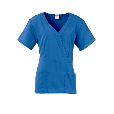Park AVE™ Mock Wrap Ladies Scrub Top, Ceil Blue, Small
