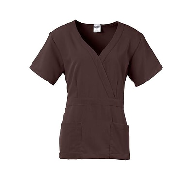 Park AVE™ Mock Wrap Ladies Scrub Top, Chocolate, 2XL