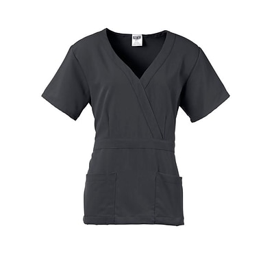 Park AVE™ Mock Wrap Ladies Scrub Top, Charcoal, Large